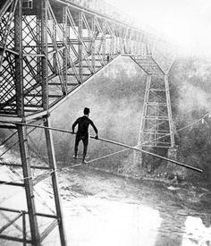 Samuel J Dixon crossing Niagara below the Great Cantilever Bridge U.S.A., 1895
