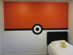 Pokemon Pokeball Wall Boys Bedroom This is how I painted Jordan's room this weekend.