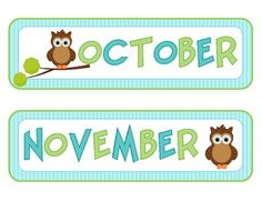 Owl Calendar Months and Numbers