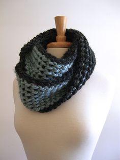 chunky infinity twist loop scarf / cowl - charcoal and ice blue - tunisian crochet