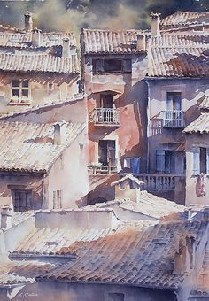 """Watercolour painting by Christian Graniou - """"Les toits"""" Watercolor City, Watercolor Artists, Watercolor Landscape, Watercolor And Ink, Watercolor Illustration, Watercolour Painting, Landscape Art, Landscape Paintings, Watercolors"""
