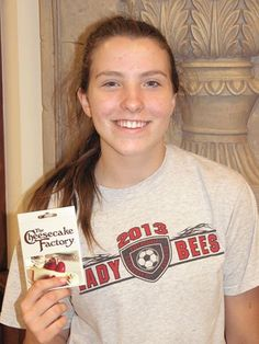 Congrats to Carly, our winner of the new patient drawing for July. She's buying dinner at Cheesecake Factory!!