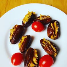 Peanut butter-stuffed dates sprinkled with a dash of salt. Healthy snack that tastes heavenly :-)
