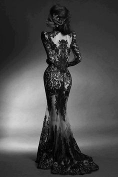 Black lace gown. Mermaids lace gown. Form fitting full length gown. Woman's fashion.