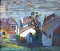 Roy de Maistre - An oil painting of view of a curved harbour painted from a hill overlooking multi-coloured roofs. Palette of blues, pinks and greens Music Coloring, Australian Artists, Landscape Paintings, Australian Art, Colorful Wall Art, Painting, Illustration Art, Art, Vintage Posters