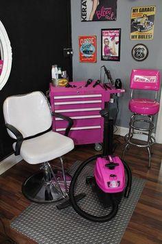 The Original Pink Box Pink Shop Vac Kadillac Barbies Salon Spa Pink Tool Box Diamond Plate Floor Mat Keratin Complex Home Beauty Salon, Home Hair Salons, Beauty Salon Decor, Beauty Room, In Home Salon, Beauty Bar, Hair Stations, Salon Stations, Salon Interior Design