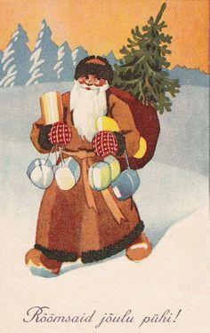 Vintage Swedish Sant Christmas Card ~ Orange Background