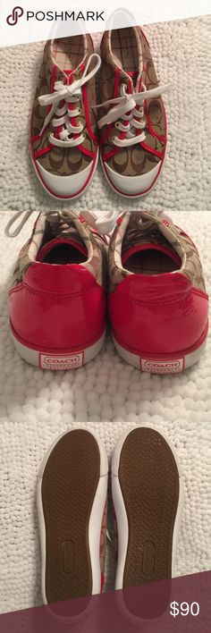 Coach Signature Sneaker NWOB Coach Sneakers. Super cute classic Coach pattern with red leather details! Size 8, never worn! Coach Shoes Sneakers