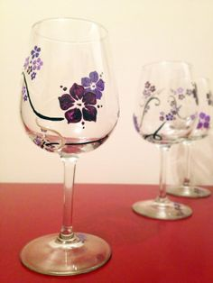 Flower Decorative Painted Wine Glasses set of 4 by JessicasPaints, $40.00