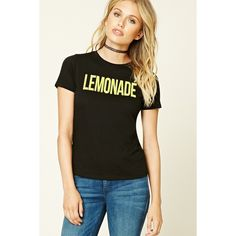 Forever 21 Women's  Lemonade Graphic Tee ($13) ❤ liked on Polyvore featuring tops, t-shirts, graphic print t shirts, forever 21, graphic design t shirts, forever 21 tee and graphic tees