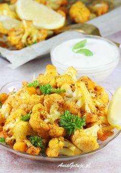 Pieczony kalafior | AniaGotuje.pl Cauliflower, Food And Drink, Dinner, Vegetables, Ethnic Recipes, Sweet, Impreza, Garden, Diet