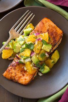 Honey Glazed Salmon with Citrus Avocado Salsa - this pan seared salmon is amazing!