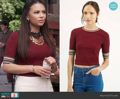 Mona's white buckled skirt and red top on Pretty Little Liars.  Outfit Details: https://wornontv.net/56051/ #PLL