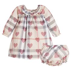 Burberry Baby Girls Check & Hearts Dress at Childrensalon.com