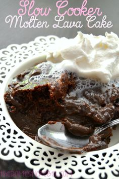 Decadent, gooey molten lava cake is made in the slow cooker for a fantastic, easy wintertime dessert that's ready in no time!