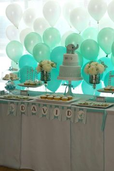 Baby Elephant | CatchMyParty.com  ombre balloon wall