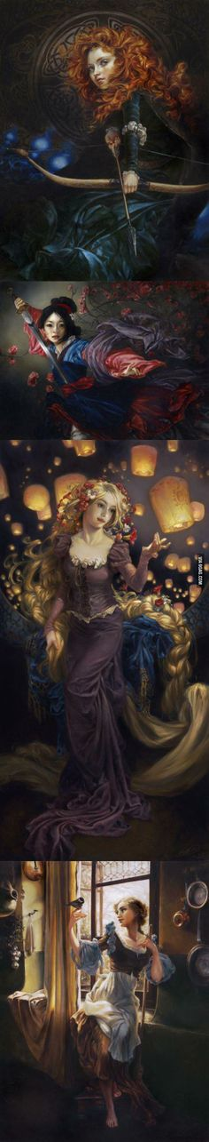 Disney Princesses oil paintings. Super awesome.