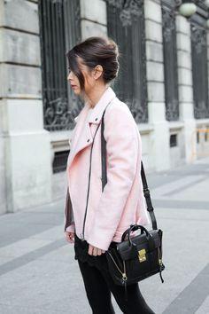 collage vintage Pink Biker Jacket