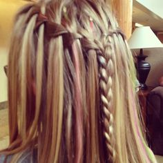 pretty braid with pink streaks