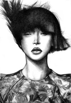 Fashion illustration - stylish black & white fashion portrait; fashion drawing // Mengjie Di