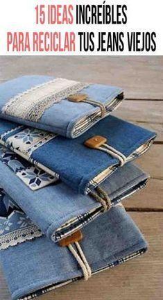 15 ideas increíbles para reciclar tus jeans viejos - Rhythm Tutorial and Ideas Diy Home Crafts, Diy Craft Projects, Sewing Projects, Project Ideas, Denim Clutch Bags, Denim Bag, Recycled Denim, Recycled Crafts, Fabric Crafts