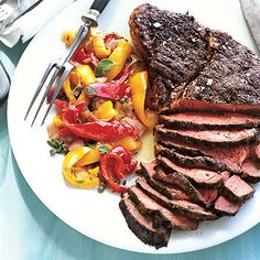 Herb-Rubbed Top Sirloin Steak with Peperonata -- Skip the olive oil and capers in this one, and you've got a sumptuous Phase 2 feast.