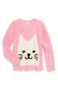 This is a women's girls' pink toddler fluffy cat sweater from Tucker Tate, a crocheted or knitted garment covering the upper part of the body.