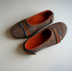 """These handmade slippers are made of 100% wooland with natural leather soles glued and sewn by hand. """"Wool is light as fluff and warm like fire"""". These"""