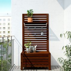 Backyard Ideas Discover ÄPPLARÖ Bench with wall panel outdoor brown stained brown - IKEA Outdoor Storage Bench, Small Balcony Decor, Hanging Porch Swing, Ikea Outdoor, Staining Wood, Outdoor Shelves, Ikea, Wall Paneling, Privacy Walls