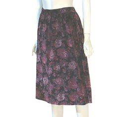 Vintage Black Velvet Vintage Skirt Rose Print