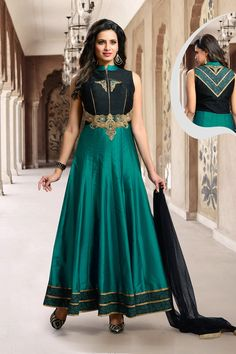 Black Silk Readymade Ankle Length Anarkali Suit 70314