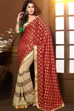 Cream and red brasso, chiffon and georgette saree with green art silk blouse with price $85.95 .Embellished with embroidered and resham.Saree comes with v neck blouse.It is perfect for casual wear, festival wear, party wear and wedding wear.Andaaz Fashion is the most popular designer wear online ethnic shop brands.  http://www.andaazfashion.us/womens/sarees/fabric/georgette-saree