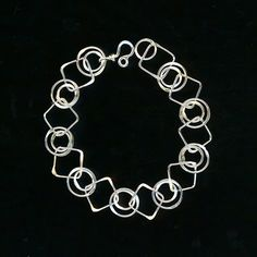 Silver 25th Anniversary Large Square Chain Bracelet Double Circle Sterling Chainmaille Wire Jewelry Metal Wirework