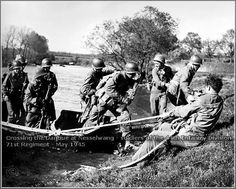 crossing the danube at Nesselwang soldiers of the 44th Infantry division 71st Regiment May 1945