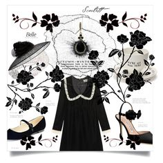 """""""Black flower"""" by greengoblinz ❤ liked on Polyvore featuring Yves Saint Laurent, Givenchy, Mrs Moore, Home Decorators Collection, Bling Jewelry, Manolo Blahnik, Marc Fisher, black, goth and gothic"""
