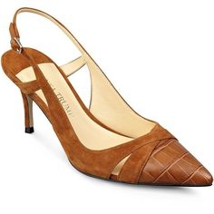 IVANKA TRUMP Billa Cap Toe Slingback Pumps (161,495 KRW) ❤ liked on Polyvore featuring shoes, pumps, croc pumps, cap toe pumps, sling back shoes, slingback shoes and crocs footwear