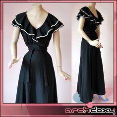Vintage 1970s Sweet Abigail Wedding Frilled Monochrome Flared Maxi Dress - UK10