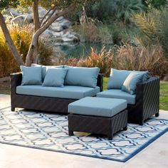 Take the comfort of your living room outdoors with the Belham Living Cara All Weather Wicker Sectional Sofa . This set combines style and comfort with. Outdoor Wicker Furniture, Deck Furniture, Furniture Design, Furniture Ideas, Sofa Ideas, Furniture Layout, Furniture Styles, Outdoor Chairs, Modern Furniture