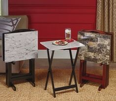 Set Of 4 Tray Tables from Tuesday Morning $49.99 Tuesday Morning Store, Tray Tables, Furniture, Home Decor, Decoration Home, Room Decor, Home Furnishings, Home Interior Design, Home Decoration