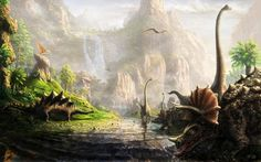 It's scientifically proven: There is nothing more awesome than a dinosaur. These are some of the greatest dinosaur pictures of all time, ready to become your next desktop wallpaper. Landscape Background, Landscape Wallpaper, 3d Fantasy, Fantasy Landscape, Dinosaur Wallpaper, Dinosaur Pictures, Forest Mountain, Dinosaur Art, Jurassic World