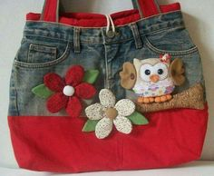 Bolso vaquero blue jean purse with owl Jean Crafts, Denim Crafts, Bag Quilt, Jean Purses, Denim Purse, Denim Ideas, Recycled Denim, Quilted Bag, Fabric Bags