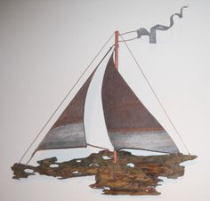 Unique Driftwood ship with Vintage Metal sails