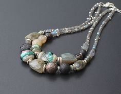 """Lampwork, gemstones and silver necklace / 'Norway"""""""