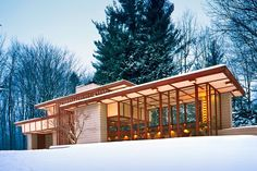In 1955 Frank Lloyd Wright created this modernist marvel outside Cleveland. Dubbed the Louis Penfield House after its original owner