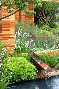 raised pond, sunken pond, rill, spillover, water feature.Great design. Repinned by www.watersidenursery.co.uk #pondplants