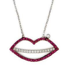"Sterling Silver Created Ruby & White Cubic Zirconia Lip Kiss Pendant Necklace w/ Adjustable Chain (16"" + 1"") (Nickel Free) Sea of Diamonds. $49.00. Metal Type: sterling-silver"