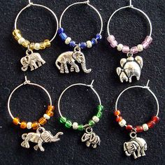 elephant charms for wine glasses