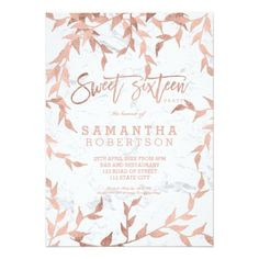 Modern fall rose gold branch white marble Sweet 16 Card