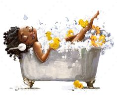 Young African Woman in Bath by cofeee | GraphicRiver