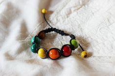 Nature wooden shamballa bracelet Wood shamballa by EttarielArt